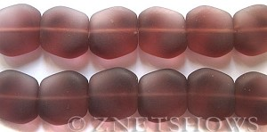 Cultured Sea Glass square nugget Beads  <b>18x17mm</b> 37-Medium Amethyst (6-pc-strad)   per  <b>5-strand-hank</b> (6-pc-str)