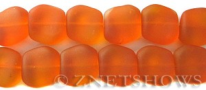 Cultured Sea Glass square nugget Beads  <b>18x17mm</b> 83-Tangerine (6-pc-strad)   per  <b>5-strand-hank</b>(6-pc-str)