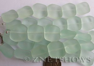 Cultured Sea Glass square nugget Beads  <b>18x17mm</b>  88-Light Aqua `Coke` bottle Seafoam (6-pc-strad)   per  <b>5-strand-hank</b> (6-pc-str)