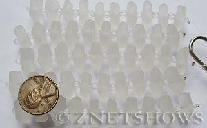Cultured Sea Glass button freeform Beads  <b>14-15mm</b> 01-Crystal 5-strand-hank (10-pc-str)   per  <b>5-str-hank</b>