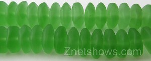 Cultured Sea Glass button freeform Beads  <b>14-15mm</b> 24-Pine green    per  <b>18-pc-str</b>