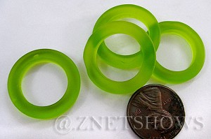 Cultured Sea Glass ring Beads  <b>23mm</b> 22-Olive Bottle-neck style rings    per  <b>10-pc-bag</b>