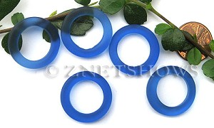 Cultured Sea Glass ring Beads  <b>23mm</b> 33-Royal Blue Bottle-neck style rings    per  <b>10-pc-bag</b>