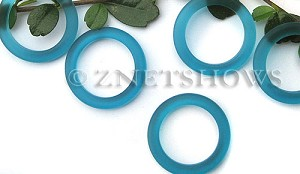 Cultured Sea Glass ring Beads  <b>27mm</b> 82-Teal Bottle-neck style rings    per  <b>10-pc-bag</b>