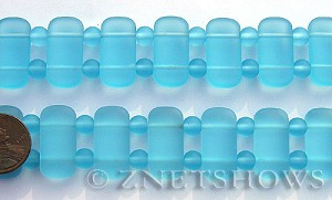 Cultured Sea Glass double hole Beads  <b>24x12mm</b> 28-Turquoise Bay rectangle with spacers   per  <b>10-pc-str</b>