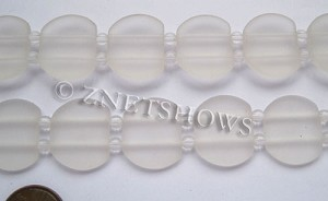 Cultured Sea Glass double hole Beads 21x17mm  01-Crystal    per  <b>12-pc-str </b>