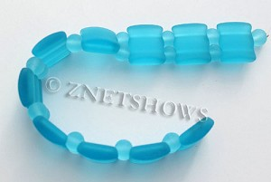Cultured Sea Glass double hole Beads 20x20mm 28-Turquoise Bay    per  <b>10-pc-str</b>