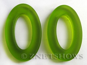 Cultured Sea Glass oval ring Pendants  <b>31x20mm</b> 22-Olive    per  <b>10-pc-bag</b>