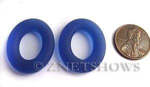 Cultured Sea Glass oval ring Pendants 26x22mm 33-Royal Blue    per  <b>10-pc-bag</b>