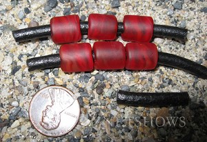 Cultured Sea Glass tube Beads  <b>12x10mm</b> 05-Cherry Red large hole (Hand-made, shape and color may vary slightly)   per  <b>6-pc-bag</b>