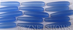 Cultured Sea Glass teardrop round Beads  <b>38x9mm</b> 31-Light Sapphire (5-pc-str)   per  <b>5-str-hank</b>