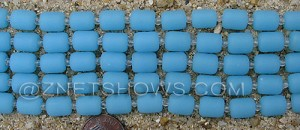 Cultured Sea Glass barrel nugget Beads  <b>10x8mm</b> 46-Opaque Blue Opal (17-pc-str)   per  <b>5-str-hank</b>