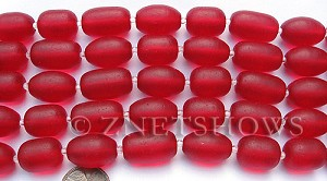 Cultured Sea Glass nugget Beads  <b>16-20x12mm</b> 05-Cherry Red semi-free form nugget   per  <b>8-in-str</b>