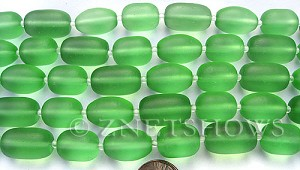 Cultured Sea Glass nugget Beads  <b>16-20x12mm</b> 23-Peridot semi-free form nugget   per  <b>8-in-str</b>