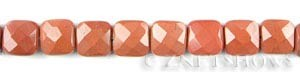 red jasper faceted square puffed Beads <b>12mm</b>     per   <b> 15.5-in-str</b>
