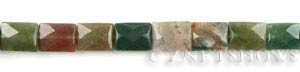 fancy jasper faceted rectangle puffed Beads <b>9x12mm</b>  length-drilled   per   <b> 15.5-in-str</b>