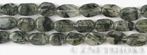 Other stone & material tourmalinated quartz oval freeform Beads <b>about 12x8mm</b>     per   <b> 14.5-in-str</b>