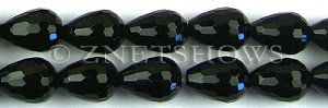 black onyx faceted teardrop round Beads <b>18x13mm</b>  length-drilled   per   <b> 8-in-str</b>