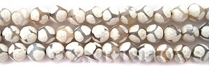 agate faceted round Beads <b>10mm</b> white with ball pattern    per   <b> 8-in-str</b>