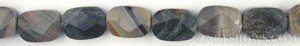 silver leaf faceted rectangle puffed Beads <b>10x14mm</b>     per   <b> 15.5-in-str</b>