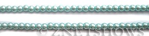 Glass Pearls <b>4mm</b> Round Light Tender Blue Color K0531 (15.5-in-str)   per <b>5-str-hank</b>