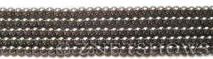 Glass Pearls <b>4mm</b> Round Hematite K0598(15.5-in-str)    per <b>5-str-hank</b>