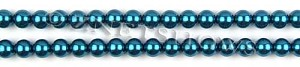 Glass Pearls <b>6mm</b> Round Montana Color K0735 (15.5-in-str)   per <b>5-str-hank</b>