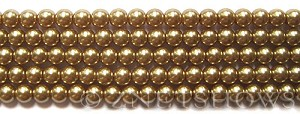 Glass Pearls <b>6mm</b> Round Khaki K0936(15.5-in-str)    per <b>5-str-hank</b>