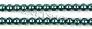 Glass Pearls <b>8mm</b> Round Teal Green Color K1182 (15.5-in-str)   per <b>5-str-hank</b>
