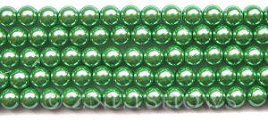 Glass Pearls <b>8mm</b> Round Vivid Green Color K0080(15.5-in-str)   per <b>5-str-hank</b>