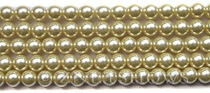 Glass Pearls <b>8mm</b> Round Vanila K0205(15.5-in-str)   per <b>5-str-hank</b>