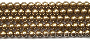 Glass Pearls <b>8mm</b> Round Khaki K0936(15.5-in-str)   per <b>5-str-hank</b>