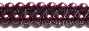 Glass Pearls <b>12mm</b> Round wine  K294   per <b>15.5-in-str</b>