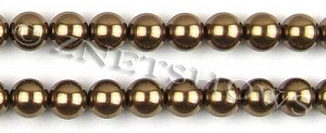 Glass Pearls <b>12mm</b> Round copper K373   per <b>15.5-in-str</b>