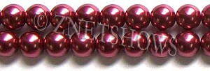 Glass Pearls <b>12mm</b> Round raspberry K588   per <b>15.5-in-str</b>