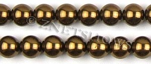 Glass Pearls <b>14mm</b> Round bronze  K904   per <b>15.5-in-str</b>