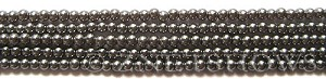 Glass Pearls <b>3mm</b> Round Hematite K0598(15.5-in-str)    per <b>5-str-hank</b>