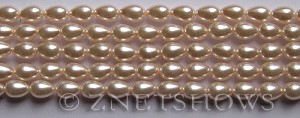 Glass Pearls <b>7x5mm</b> Teardrop Round Baby Pink Color K0165   per <b>15.5-in-str</b>