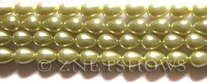 Glass Pearls <b>9x7mm</b> Teardrop Round Butter Color K0121   per <b>15.5-in-str</b>