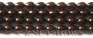 Glass Pearls <b>9x7mm</b> Teardrop Round Brown Color K0396   per <b>15.5-in-str</b>