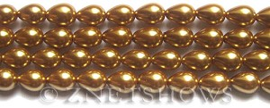 Glass Pearls <b>9x7mm</b> Teardrop Round Golden Color K0520   per <b>15.5-in-str</b>