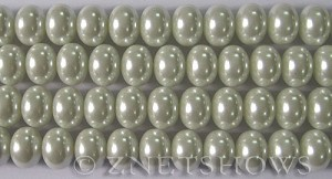 Glass Pearls <b>12x8mm</b> Rondelle White Color K0016   per <b>15.5-in-str</b>