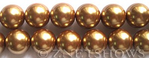 Glass Pearls <b>16mm</b> Round golden Color K520   per <b>15.5-in-str</b>