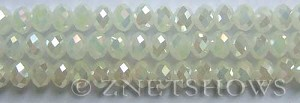 Tiaria Glass Crystal 42AB-Opaque White AB rondelle Beads <b>8x5mm</b> faceted     per   <b> 10-str-hank</b>