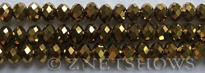 Tiaria Glass Crystal 103-Metallic Gold rondelle Beads <b>8x5mm</b> faceted     per   <b> 10-str-hank</b>