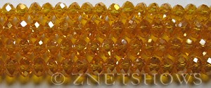 Tiaria Glass Crystal 57AB-Saffron Yellow AB rondelle Beads <b>8x5mm</b> faceted     per   <b> 10-str-hank</b>