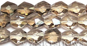 Tiaria Glass Crystal 69-Tan Color nugget Beads <b>20x15mm</b> faceted     per   <b> 8-in-str (11-pc-str)</b>