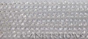 Tiaria Glass Crystal 01-Crystal rondelle Beads <b>6x4mm</b> faceted     per   <b> 10-str-hank (50-pc-str)</b>