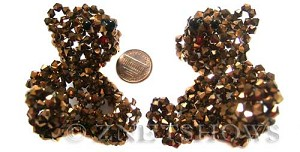 Tiaria Glass Crystal 105-Metallic Copper braided style Beads <b>60x55mm</b>  teddy bear made of 4mm bicones    per   <b> piece</b>