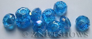 Tiaria Glass Crystal 29AB-Barbados Blue AB rondelle Beads <b>14x8mm</b> faceted 5mm large hole    per   <b> 10-pc-bag</b>